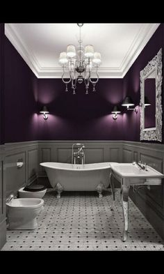 Gorgeous bathroom with deep purple walls. So glamorous! For our bedroom navy blue walls but like the ceiling being white.