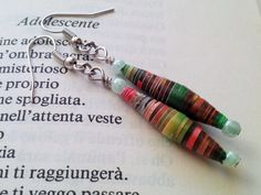 Light earrings handcrafted with paper beads multicolours by MiLova