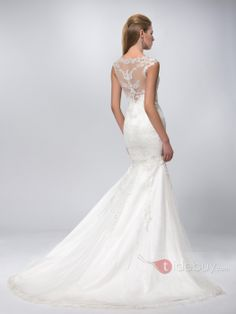 Sexy Scoop Neck Chapel Train Mermaid Lace Wedding Dress : Tidebuy.com