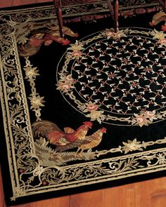 """Rooster Bijoux"" Rug at Horchow."