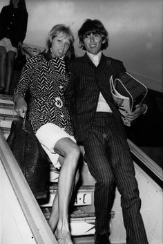 Pattie and George arriving back in London after their honeymoon - on George's 23rd birthday.