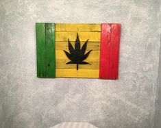 Cannabis/Marijuana/Pot flag/Rasta/Handcrafted/Canada flag inspired/gift idea/Natural/wood/3D/rustic/reclaimed/wall art/wall decor/jamaica  http://thehempoilbenefits.com
