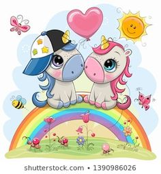 Cartoon Unicorns are sitting on the rainbow. Two Cute Cartoon Unicorns are sitting on the rainbow stock illustration Cartoon Unicorn, Baby Cartoon, Cute Cartoon, Unicornios Wallpaper, Disney Wallpaper, Disney Cartoon Characters, Disney Cartoons, Vector Amor, Unicorn Painting