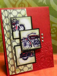 Love the individual squares used to spotlight different parts of the bike. This could easily be done with cars or trucks. Masculine Birthday Cards, Birthday Cards For Men, Masculine Cards, Male Birthday, Boy Cards, Cute Cards, Men's Cards, Fathers Day Cards, Card Sketches