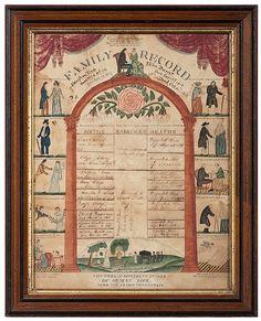 Rare New York Folk Art Family Record