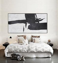 Hand painted Minimalist painting on canvas, Large horizontal black and white art for minimal interiors. CZ ART DESIGN @CeilneZiangArt