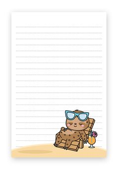 Summer Sloths Beach Theme Stationery – Free Printable Printable Lined Paper, Free Printable Stationery, Free Printable Stickers, Printable Crafts, Free Printables, Stationery Templates, Stationery Paper, Stationery Design, Typographic Logo