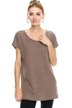 Solid Pocket Detailed Rib Hachi Round Boat Neck Tunic Top 24235