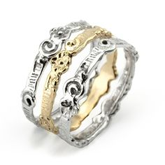 14K Gold and Silver Stack Rings