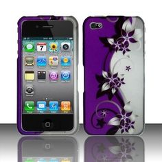 Purple Silver Vines HARD Protector Case Snap On Phone Cover Apple iPhone 4 4S - USD $ 10.95