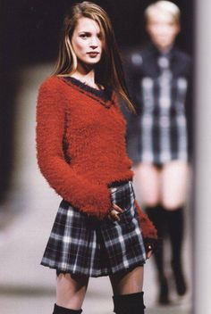 Vivienne westwood, 90s, kate moss, runway fashion, plaid