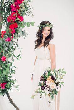 Magenta, Creative Wedding Inspiration, Santorini Wedding, Bride Portrait, Bridal Accessories, Summer Wedding, Real Weddings, White Dress, Vibrant