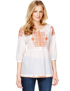 Indigo Collection Pure Cotton Bliss Embroidered Blouse