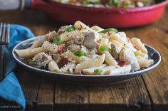 Chicken and Bacon Penne Pasta with Basil, it's a creamy,cheesy mouthwatering meal your whole family will love, it can be made dairy free too!