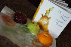 September Baby Toddler Book Club Meeting activity and snack based on Orange, Pear, Apple, Bear by Emily Gravett