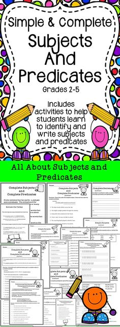 Simple and Complete Subjects and Predicates - Education Fourth Grade Writing, 6th Grade Ela, 5th Grade Classroom, Grade 3, Second Grade, Cooperative Learning, Student Learning, Subject Labels