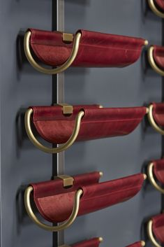 Wine Saddle Display Unit in red leather with brass and steel Architecture Restaurant, Restaurant Design, Bar Lounge, Wine Cellar Design, Joinery Details, Drink Bar, Wine Display, Wine Wall, Wine Cabinets