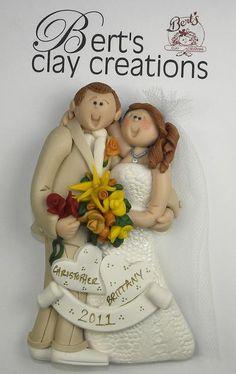Bride and Groom Custom Ornaments by BertsClayCreations on Etsy, $25.00