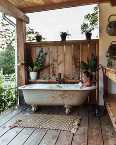 outdoor baths outside bathtub Outdoor Bathtub, Outdoor Bathrooms, Outdoor Rooms, Outdoor Living, Outdoor Showers, Garden Bathtub, White Bathrooms, Luxury Bathrooms, Master Bathrooms