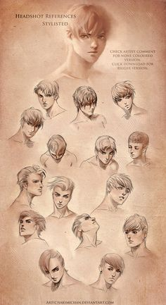 Stylized Head Reference .male by sakimichan on deviantART