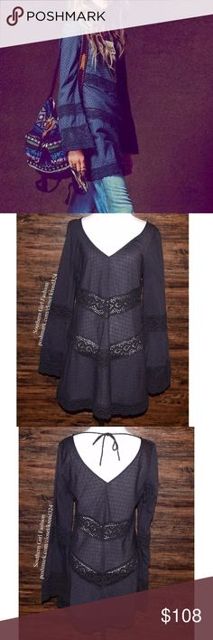 FREE PEOPLE Classic Top Patterned Bohemian Blouse Size Medium. Good Condition. $108 MSRP + Tax.   • Beautiful peasant tunic featuring an effortless silhouette and long bell sleeves. • Textured faded fabric includes dotted detailing and uneven embroidery. • Raw crochet insets throughout. • Tie at back. • Unlined. • Good pre-owned condition. • No rips, stains, tears or holes. • Fabric wear throughout.  {Southern Girl Fashion - Closet Policy}   ✔️ Same-Business-Day Shipping (10am CT). ✔️ Price…