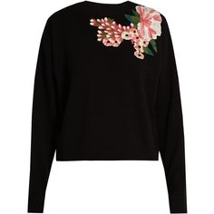 Dolce & Gabbana Floral-appliqué wool and cashmere-blend sweater (€2.470) ❤ liked on Polyvore featuring tops, sweaters, blouses, black, loose sweater, wool tops, flower sweater, floral sweater and floral print sweater