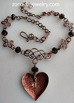 Hand cut heart pendant and wire work - I love the links