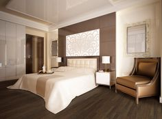 Master bedroom with gorgeous headboard and stunning bamboo floors that make the room flow.