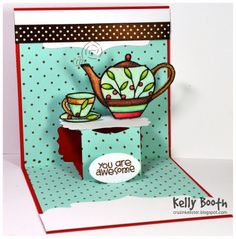 Kelly Booth using the Lucy Label Pop it Ups die by Karen Burniston for Elizabeth Craft Designs. Also uses the Tea Peel-off stickers, microfine glitter and double-sided adhesive - Lovin The Life I Color: A Tea Time Thanks!