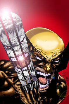 #Hulk #Fan #Art. (Wolverine vs Hulk color) By: Inkeravan. (THE * 5 * STÅR…