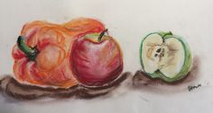 Fruit - Pastel on paper. Pastels, Charcoal, Pencil, Sketches, Vegetables, Fruit, Paper, Food, Drawings