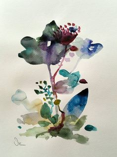 Original watercolor painting with a beautiful floral design, blue and violet painting.  Textured watercolor Canson paper    Please note that