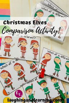 Printable Christmas Activity! | All these little elves look the same! Can your learner use their comparison skills to tell the difference? Download and see! #printableactivities #preschoolactivities #kindergartenactivities #comparing #comparisonactivities #christmasprintables Christmas Math Worksheets, Preschool Christmas Activities, Printable Activities For Kids, Kindergarten Activities, Christmas Printables, Classroom Activities, Preschool Activities, Educational Activities, Preschool Worksheets