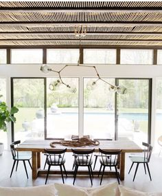 bright dining room with natural elements