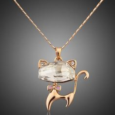 Cheap cat pendant necklace, Buy Quality necklace a directly from China pendant necklace Suppliers: AZORA Gold Color Stellux Austrian Crystals Lovely Cat Pendant Necklace Pendant Set, Gold Pendant, Diamond Pendant, Cat Necklace, Necklace Types, Pendant Necklace, Fashion Necklace, Fashion Jewelry, Fashion Clothes