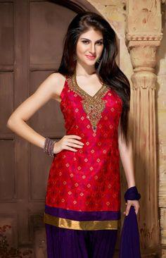 USD 203.73 Red Silk Patiala Salwar Suit   34800