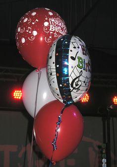 A close up of the balloons. Colin MacDonald of the Trews' birthday celebrations, May 31/13, Lewiston, NY.