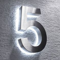 High quality LED illuminated house number made of stainless steel Features: Height: 20 . High quality LED illuminated house number made of stainless steel Features: Height: Thickness Illuminated House Numbers, Led House Numbers, House Number Plates, Door Numbers, 3 House Number, Gate Design, House Design, Light Emitting Diode, White Doors
