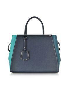 Fendi Blue and Green 2Jours Calfskin Shopping Bag w/Detachable Shoulder Strap at FORZIERI
