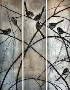 Kerry Buck - Long-tailed Tits collagraph print