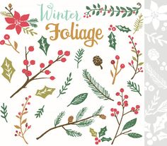 CLIP ART and Photoshop Brushes Winter Foliage for by theinknest