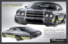 70 chevelle r ss rendering custom bumper spoiler front rear wing grey yellow rs rsss 5 star protouring