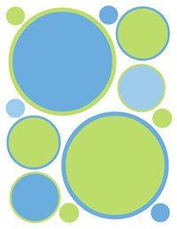 Blue Green POLKA DOTS wall decals baby boy nursery decor circles kids room stickers