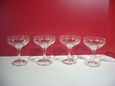 Champagne Glasses Mid Century Modern Vintage Etched Dashes And Dots Lot of 4