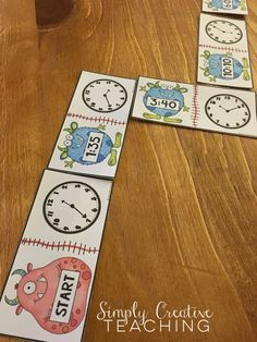 Your Math Centers. Made Easy! Telling Time Dominoes for time to the hour & quarter hour & time to the five minutes!Telling Time Dominoes for time to the hour & quarter hour & time to the five minutes! I Love Math, Fun Math, Teaching Time, Teaching Math, Teaching Measurement, Math Resources, Math Activities, Second Grade Math, Math Workshop