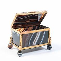 Circa Late 1800's Black Agate Panel Box $595.00 - Available @ Cavalier by Jay Jeffers #cavalier #cavaliergoods #agate #brass #box