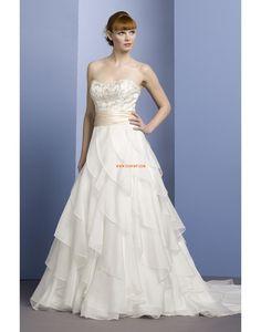 A-linje Chiffong Chic & Modern Billiga Bröllopsklänningar