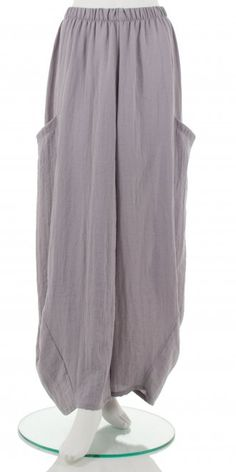"A fab bestselling ""no ordinary"" balloon shape, soft lightly crushed silver-grey  trouser from our plus size European designer Champagne.  Visit us on www.idaretobe.com"