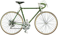 1969 Schwinn Continental in metallic jade green. This was my very first 10 Speed Bike, and what a glorious thing it was to slip away from the boundaries of the suburbs and ride out into the country for the first time with all those gears! Old Bicycle, Bicycle Shop, Pink Bike, Performance Bike, Speed Bike, Brazing, Supersport, Vintage Bikes, The Good Old Days