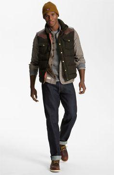 Penfield Down Vest, Marshall Artist Shirt, Splendid Sweatshirt & Levi's Straight Leg Jeans | Nordstrom